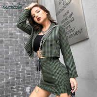 SUCHCUTE Ladies Blazer y falda Set de traje de Mujer 2 piezas Set verde Casual Blazers estilo coreano Ropa Oficina Mujer Mantelpakje