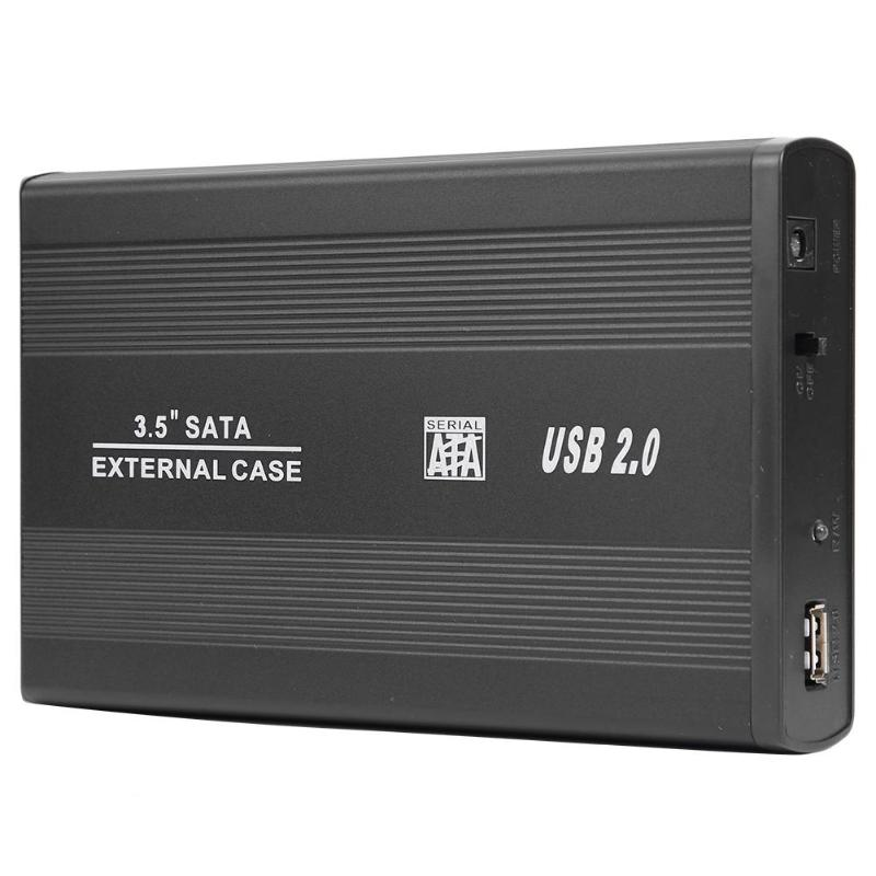 HDD Case 3.5 Inch USB 2.0 To SATA Port Hard Drive Enclosure 480Mbps HDD Box With US Plug Power Adapter