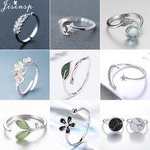 Jisensp CZ declaración anillo de cristal joyería de plata media luna estrella anillos para mujeres anillo de hoja geométrica lindo anillos de boda