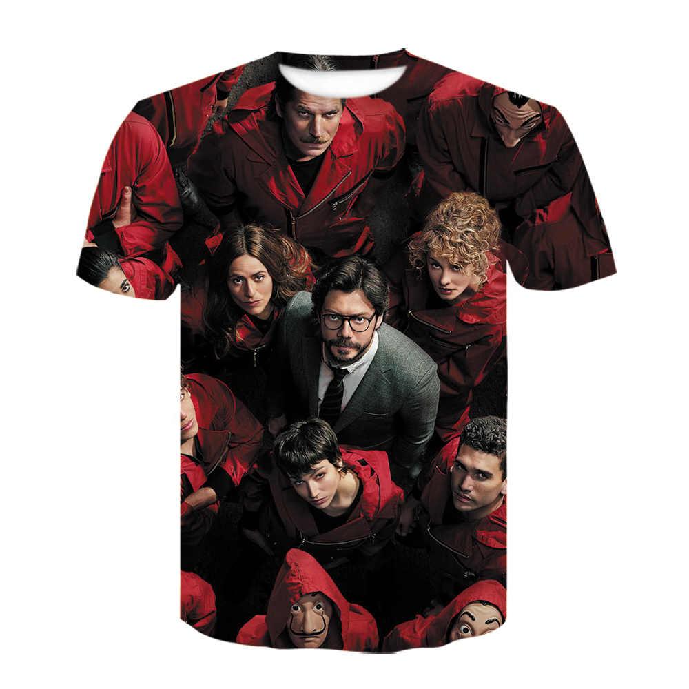 Casa de papel t camisa homem engraçado 3d design la casa de papel t camisa dinheiro roubo tees série de tv t camisas para homem wome