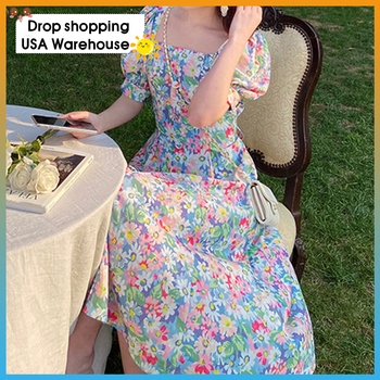 Womens dress 2020 Summer new chiffon floral French waist slim puff sleeve female Woman clothes