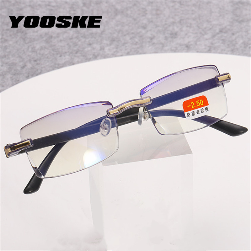YOOSKE -1.0 1.5 2.0 2.5 3.0 3.5 4.0 Finished Myopia Glasses Anti Blue Light Rimless Eyeglasses Short Sighted Eyewear