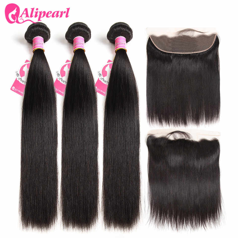 Brazilian Straight Human Hair Bundles With Lace Frontal Closure PrePlucked Ear to Ear Lace Frontal Closure With Bundles AliPearl