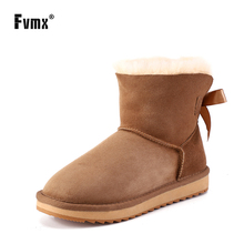 FVMX New Sheepskin Leather Wool Fur Lined Women Suede Short Snow Boots With Delicate Ribbon Bow Casual Ankle Winter Shoes 34-44