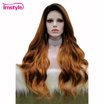 Imstyle Long Synthetic Hair Lace Front Wig Brown Wigs For Women Wavy Wig Cosplay Daily Wig Heat Resistant Fiber Glueless цена 2017