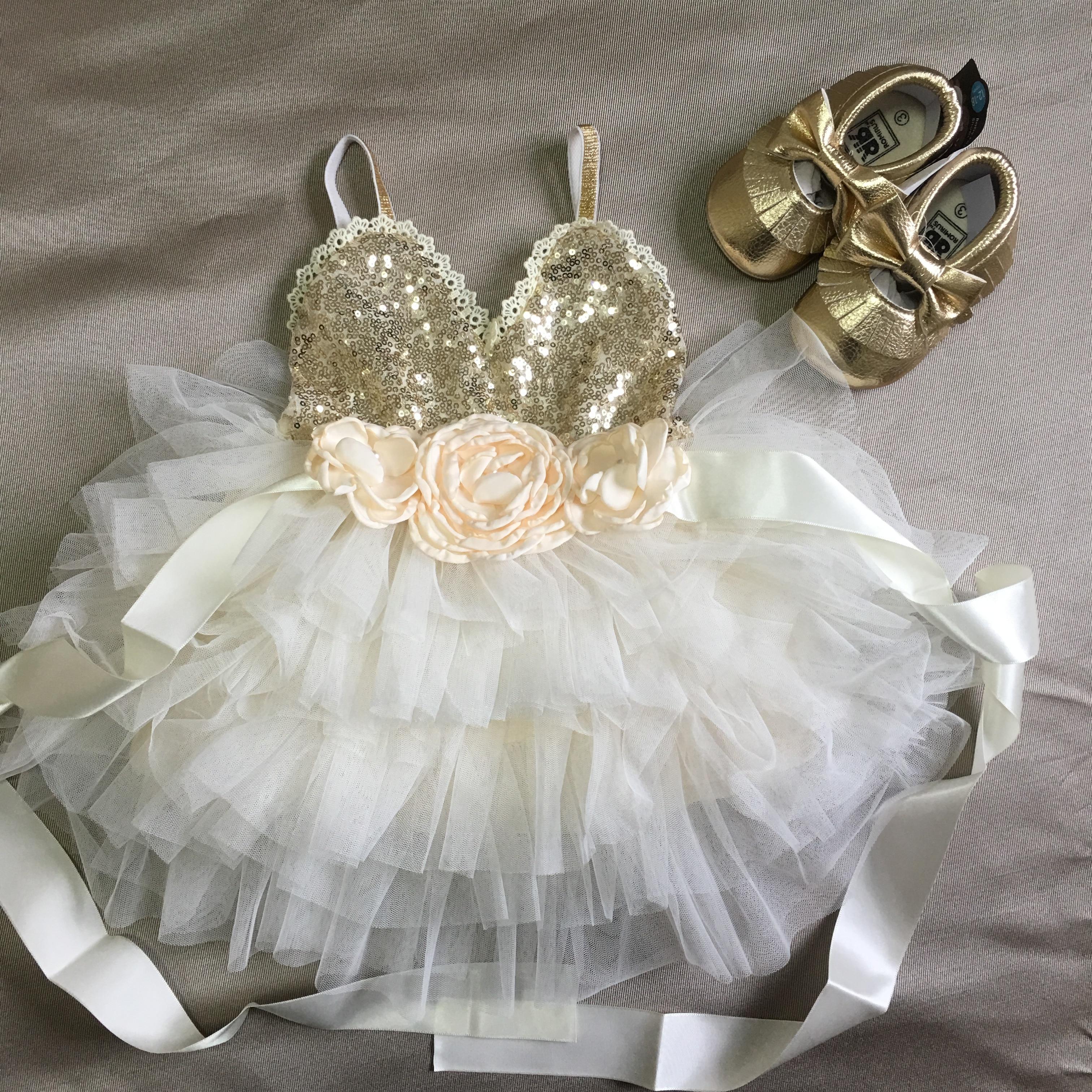 Shinny flor meninas vestido para crianças com cinto toddle vestido de festa ouro lantejoulas em camadas tutu vestido crianças vestido de ano novo roupas