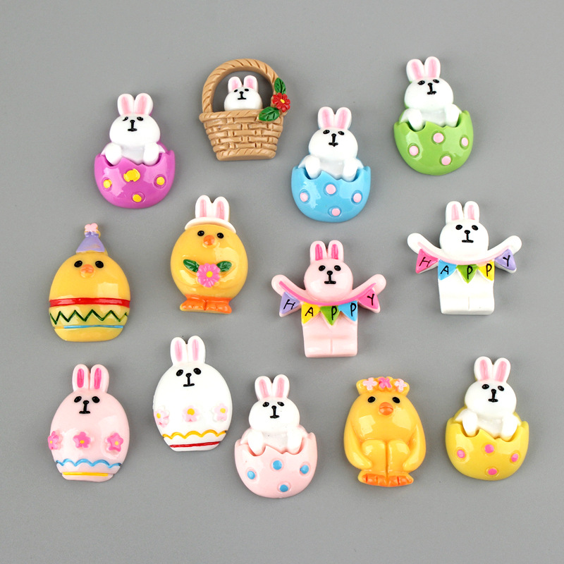 10Pcs Cartoon Rabbit Chick Resin Cabochon Flatbacks Fit Phone Case Decoration DIY Embellishments For Scrapbooking Accessories