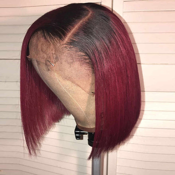 Burgundy Lace Front Wig 1b99j Short Bob Lace Front Wigs 13x4 150% Remy Straight Red Wig Burgundy Short Ombre Bob Human Hair Wigs mobok straight lace front wig 13x4 lace front bob wigs 150