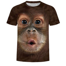 2019 camisetas de hombre 3D estampado Animal mono Camiseta de manga corta diseño divertido Casual Camisetas Hombre Halloween camiseta camisa 6xl(China)