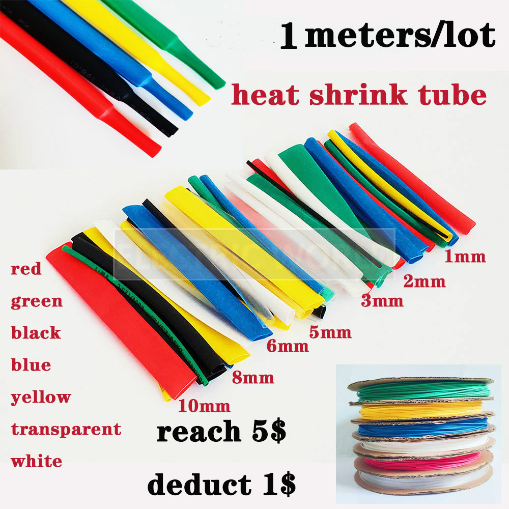 Φ2mm Heatshrink 2:1 Tube Tubing Sleeve Sleeving Red,Blue,Black,Green,Clear,White