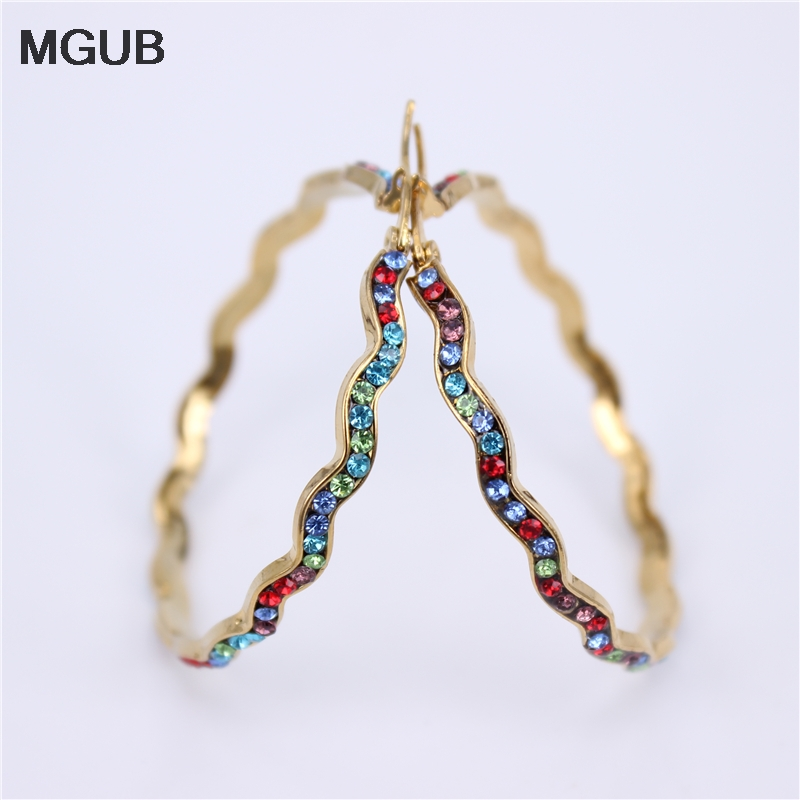 Fashion Multiple size Rhinestone Hoop Earrings For Women Statement Gold Color Round Circle Hoop Earring Party Gift LH780