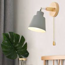 E27 Base Modern Vintage Wall Light Wooden Lamp Sconce For Bedroom Room Home Decoration White/Pink/Grey/Yellow new(China)