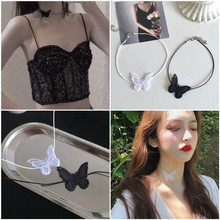 Choker short necklace woman lace butterfly collar explosion models hot neck jewelry clavicle chain tide