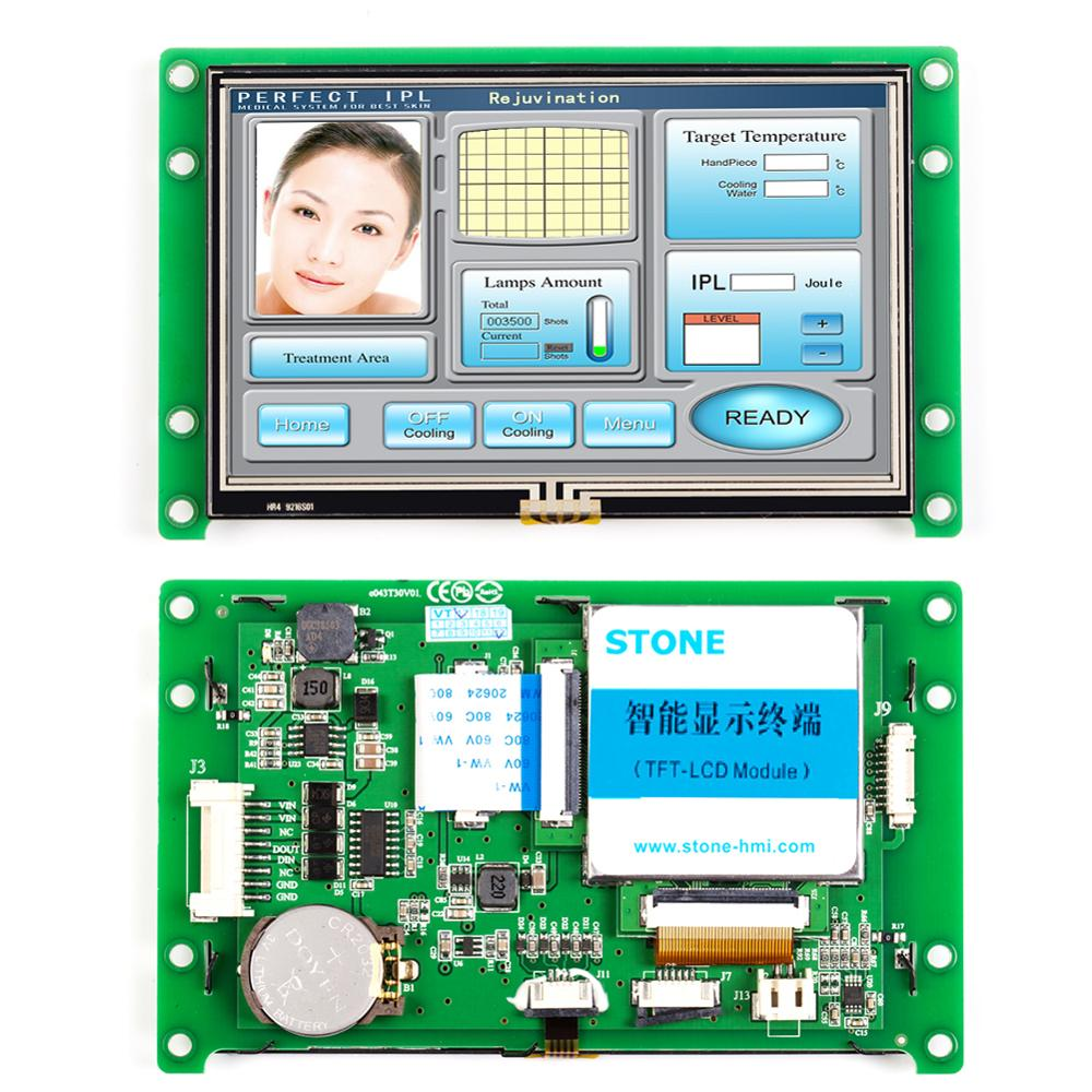 4.3 inch HMI TFT Display with Controller Board Touch Screen Monitor