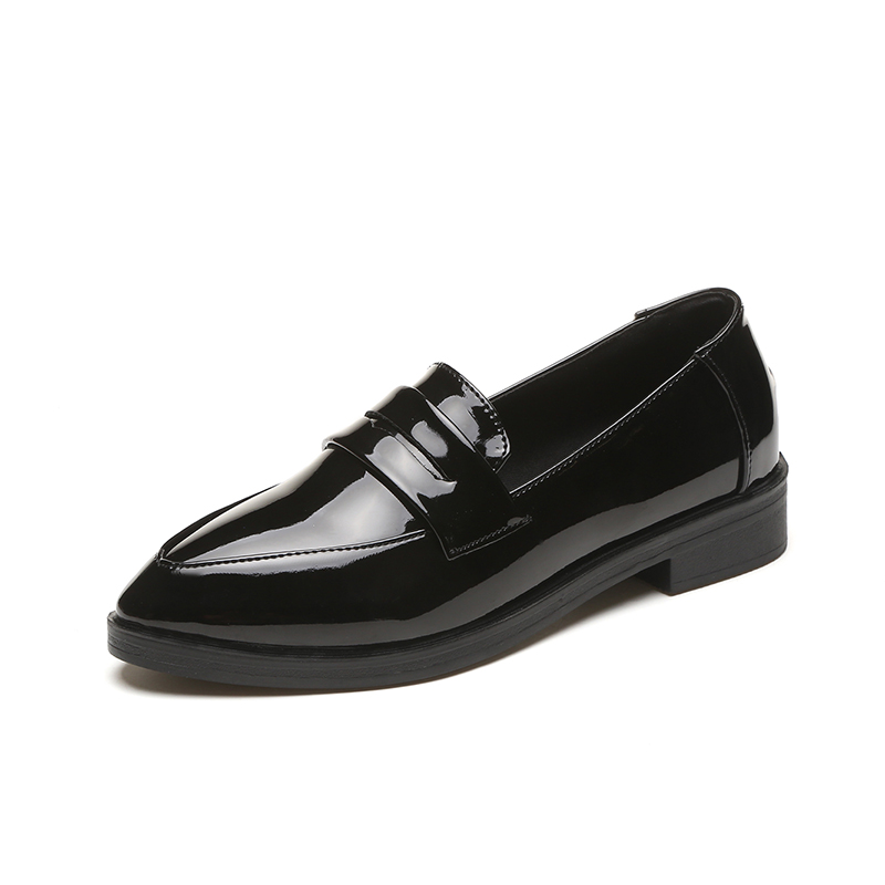 2020 New Autumn Flats Women Shoes Loafers Patent Leather Elegant Low Heels Slip on Footwear Female Pointed Toe Thick Hee
