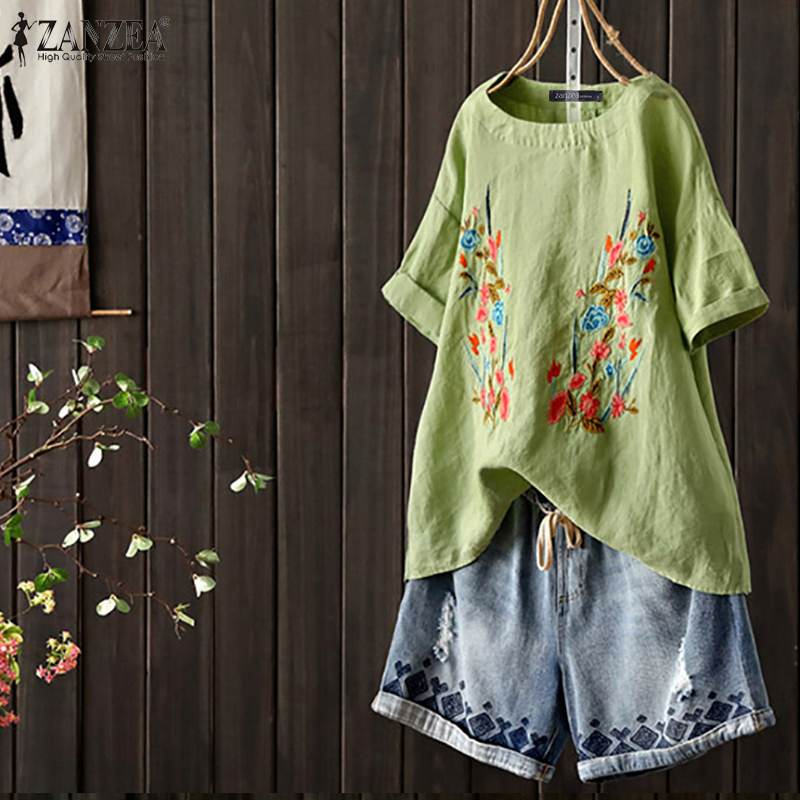 ZANZEA Women Summer Short Sleeve Embroidery Floral Blouse Loose Cotton Linen Tops Casual Vintage Shirt Femininas Blusas Chemise