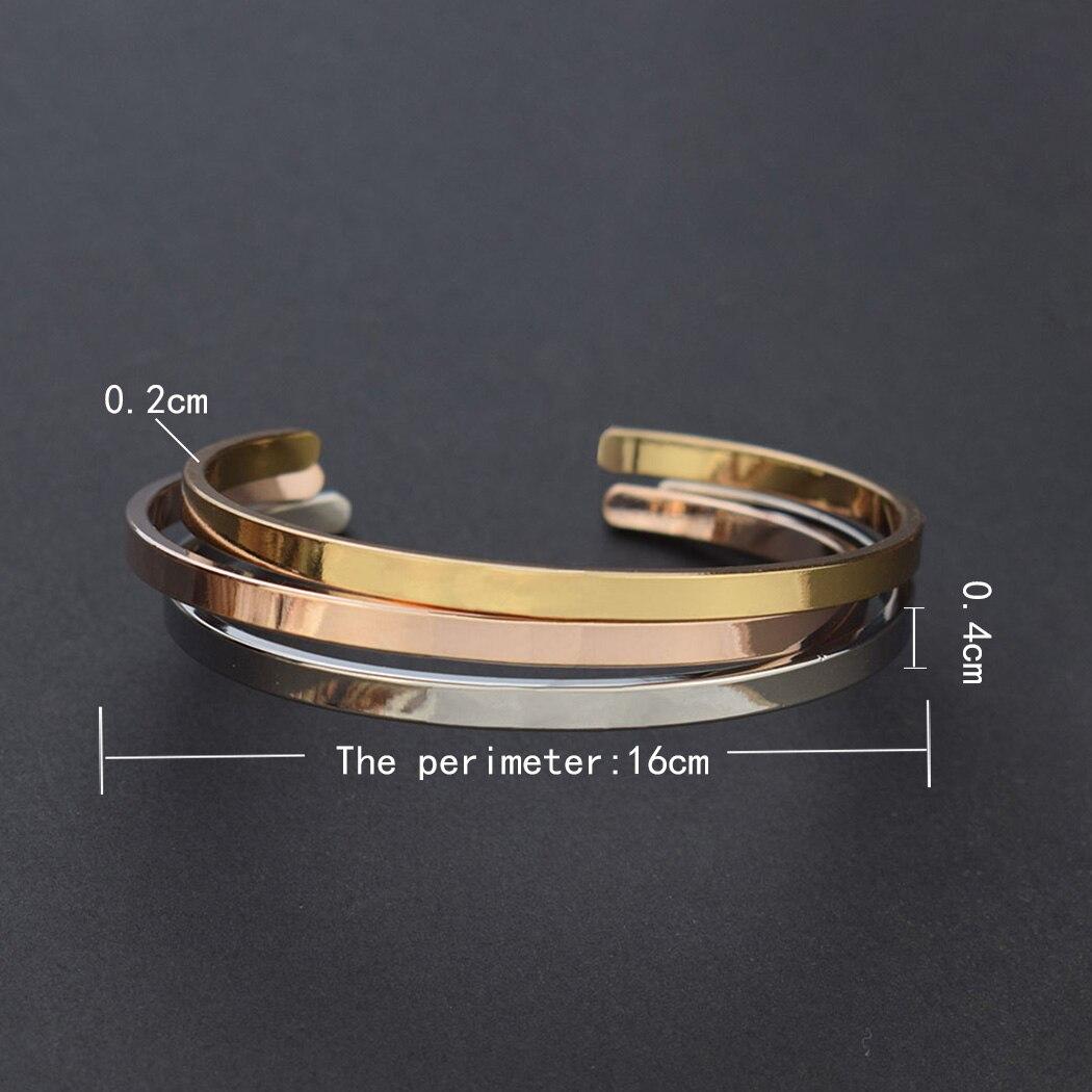 Silver Gold Rose Gold Cuff bracelet Custom Engraved Words Letters Text Adjustable Open Cuff Bracelet