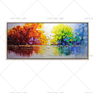 Image 5 - Christmas Abstract Modern Landscape Handmade colorful Abstract Style Thick Oil Painting on Canvas For Home Decorative Wall Art