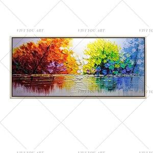 Image 5 - Kerst Abstracte Moderne Landschap Handgemaakte Kleurrijke Abstracte Stijl Dikke Olieverf Op Canvas Voor Home Decoratieve Wall Art