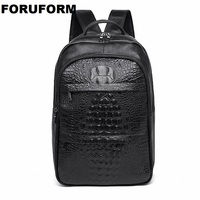 Business Casual Men Genuine leather Backpack Crocodile pattern Leather Backpack Bag Fashion Waterproof Travel Bag ZH 304