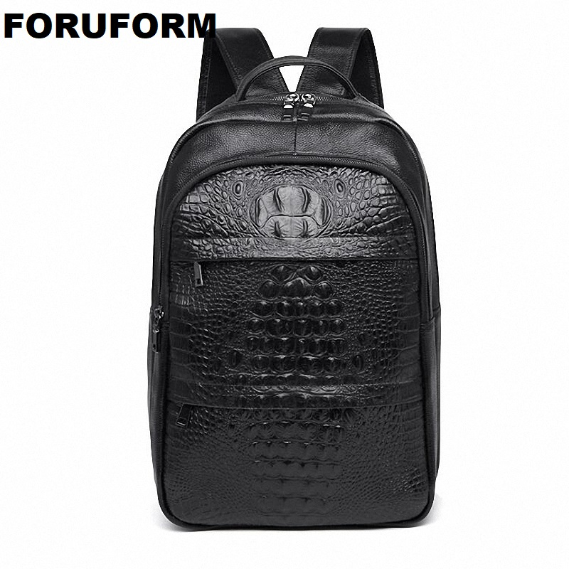 Business Casual Men Genuine leather Backpack Crocodile pattern Leather Backpack Bag Fashion Waterproof Travel Bag  ZH-304