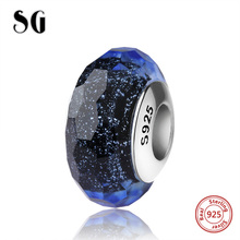 New Arrival Murano glass bead silver 925 sparkling fit authentic dark blue pandora charms bracelet original sparkling jewelry цена