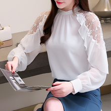 Korean Chiffon Blouses for Women Elegant Woman Lace Blouse Lady Ruffle White Shirt Plus Size Blusas Mujer De Moda Women Shirts морозильный ларь бирюса 560vdzy белый
