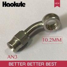 Haokule Stainless Steel 20Degree BANJO 10.2MM  Hose End  AN3 TEFLON PTFE HOSE END FITTING  BRAKE SYSTEM FITTINGS