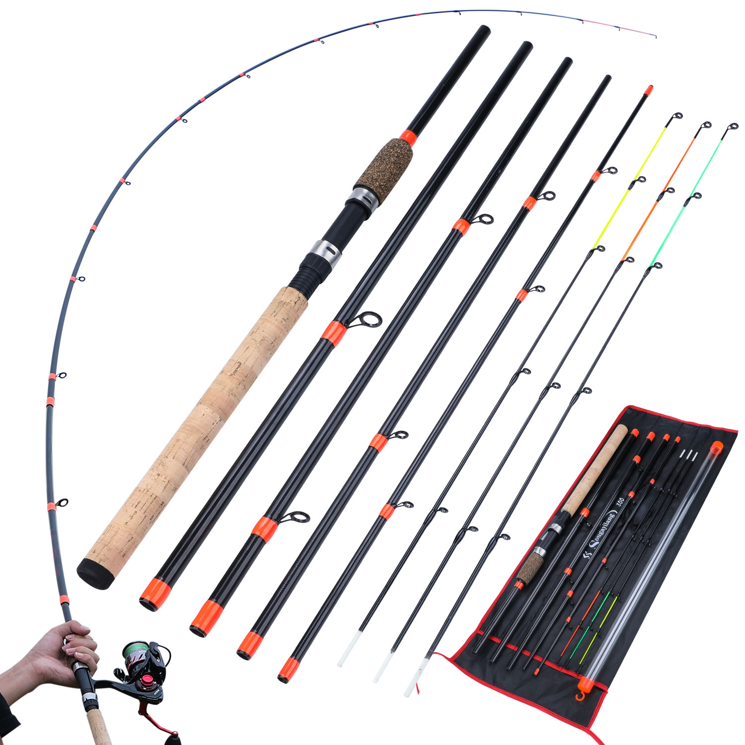 Sougayilang New Feeder Fishing Rod Lengthened Handle 6 Sections Fishing Rod L M H Power Carbon Fiber Travel Rod Fishing Tackle 2