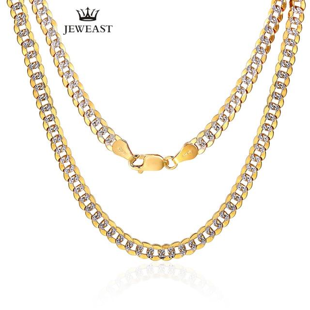 Collar de oro puro de 18K para hombre, cadena de oro sólido auténtico AU 750, joyería fina de fiesta clásica de lujo Simple, novedad de 2020