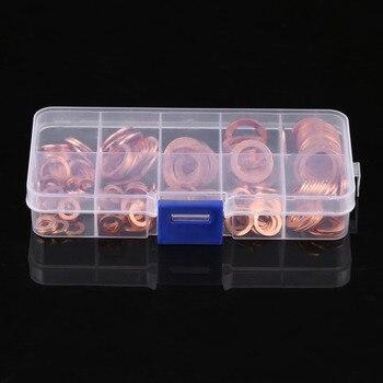 200 Pièces M5-M14 Solide Cuivre Rondelles Anneau Plat Bouchon De Puisard Joint D'huile Ensemble Assorti Rondelle Matériel Accessoires Kit Avec étui