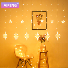 AIFENG Christmas Lights Led Curtain Light Garland Star Bells Decor For Home  Fairy Lights Outdoor Indoor Festival String Light
