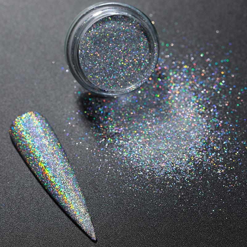 Nail Powder Laser Glitter Nail Pigment Chrome Nail Powder Dazzling Dipping Dust  Powder For Nails Art
