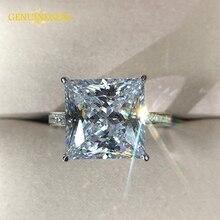 Jewepisode prawdziwe srebro 925 biżuteria 12MM lab Moissanite diamentowe wesele obrączki dla kobiet Party walentynki pierścień prezenty