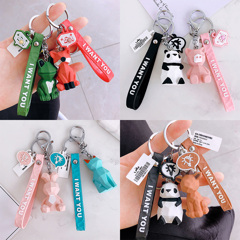 New Fashion Key Ring Animal Car Student Panda 1PC Dinosaur Cute Bag Letters Resin Keychain