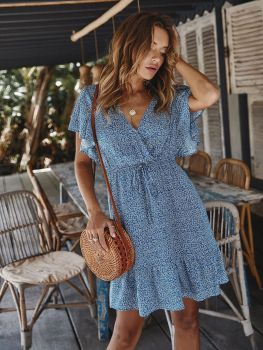 цены ruffle v neck summer dress women  2020 print short sleeve bohemian dresses holiday casual lace up mini dress robe