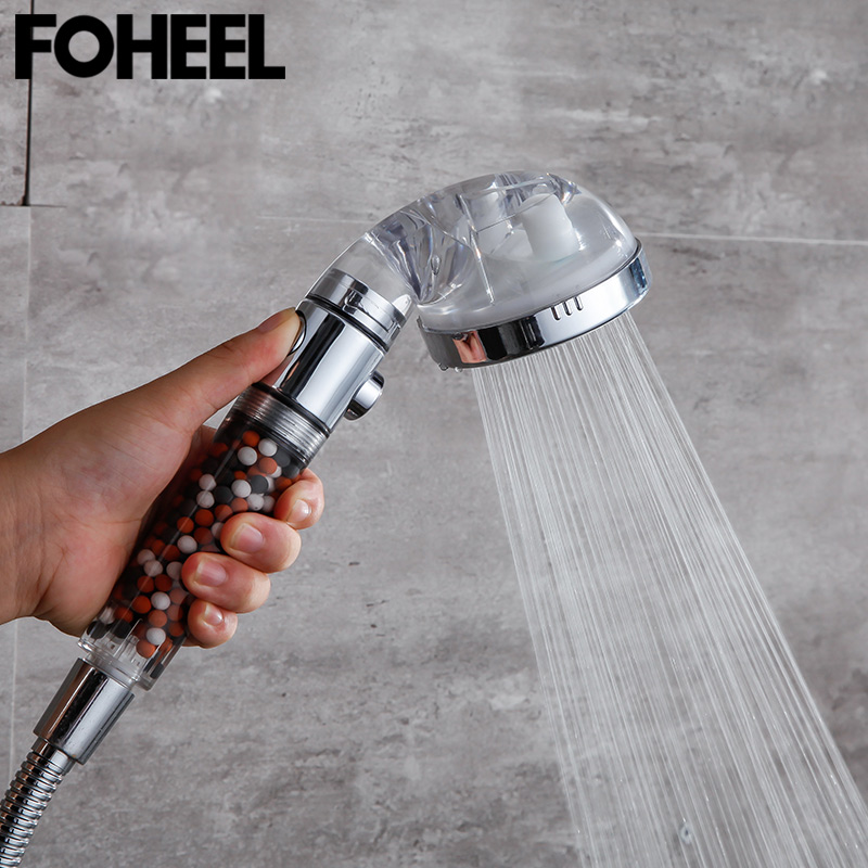 FOHEEL shower head hand shower adjustable 3 mode high pressure shower head water saving one button to stop water shower heads 2