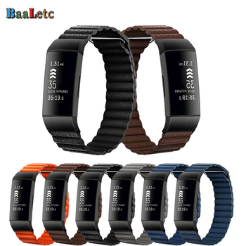 Leather Watchband Strap for Fitbit Charge 3 4 Magnetic Replacement Band Wristband Strap for Charge 4/Charge 3/Charge 3 SE strap for fitbit charge 3 se band replacement accessories silicone wristband watchband bracelet for fitbit charge 3 4 small larg