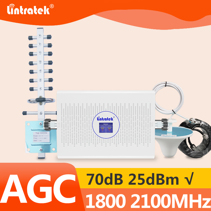 Lintratek AGC 70dB 4G Signal Booster 1800 2100MHz 3G 4G Repeater Mobile Phone Signal Amplifier 3G 2100 GSM 1800 70dB 23dBm KW23C