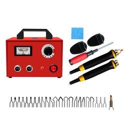100W Pyrography Pen Burning Machine palnik drewna gurda narzędzie rzemieślnicze zestaw dodaj 24 szt. Drut spawalniczy wskazówka 2 uchwyt regulowana temperatura
