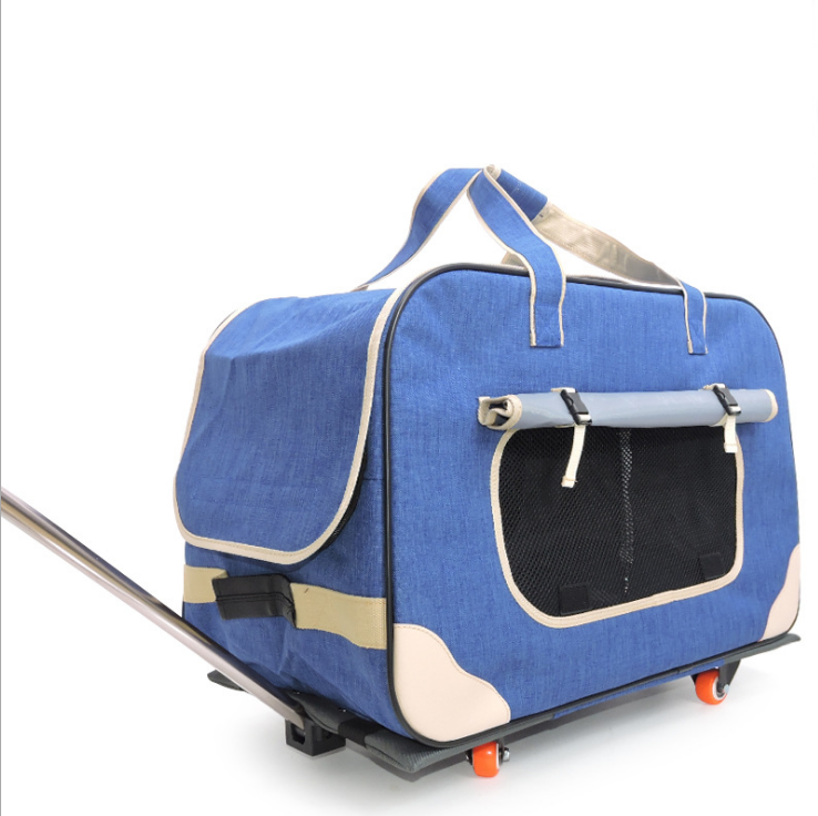 M8 Pet Trolley Folding Four wheeled Dog Trolley Box Cat Suitcase Bag Breathable Closed Lever Panoramic Super Breathable - 2