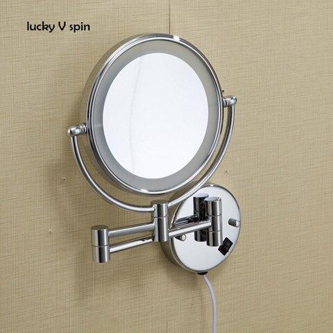 O envio gratuito de 8 diodo emissor luz montado na parede espelho de aumento redondo