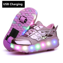 Nouveau roues USB Charge Mode Filles Garçons LUMIÈRE LED Chaussures De Patin À Roulettes Pour Enfants Enfants Baskets Avec Roues Deux Roues