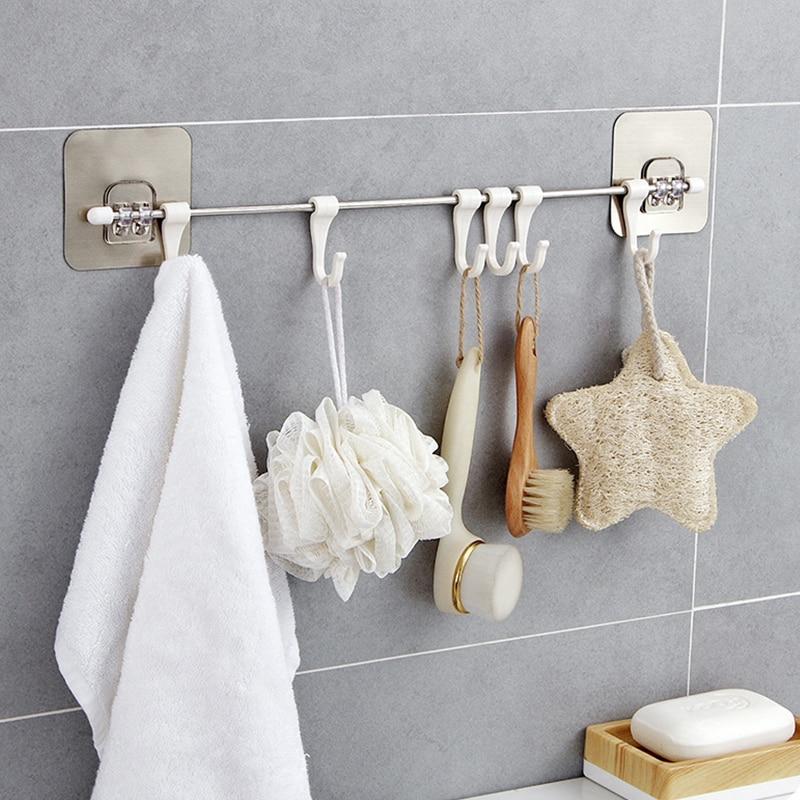 Towel Holder Rack Wall Mounted Towel Hanging Hook Bathroom Organizer Kitchen Wardrobe Towel Rack Storage Shelf Towels Hanger