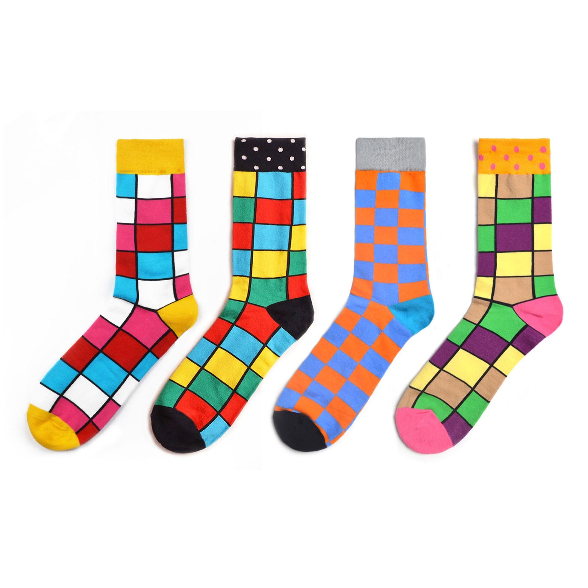 2019 New 1 Pair Brand Men Colorful Combed Cotton Happy Socks Causal Bright Street Dress Socks Funny Gift Wedding Socks SA-8