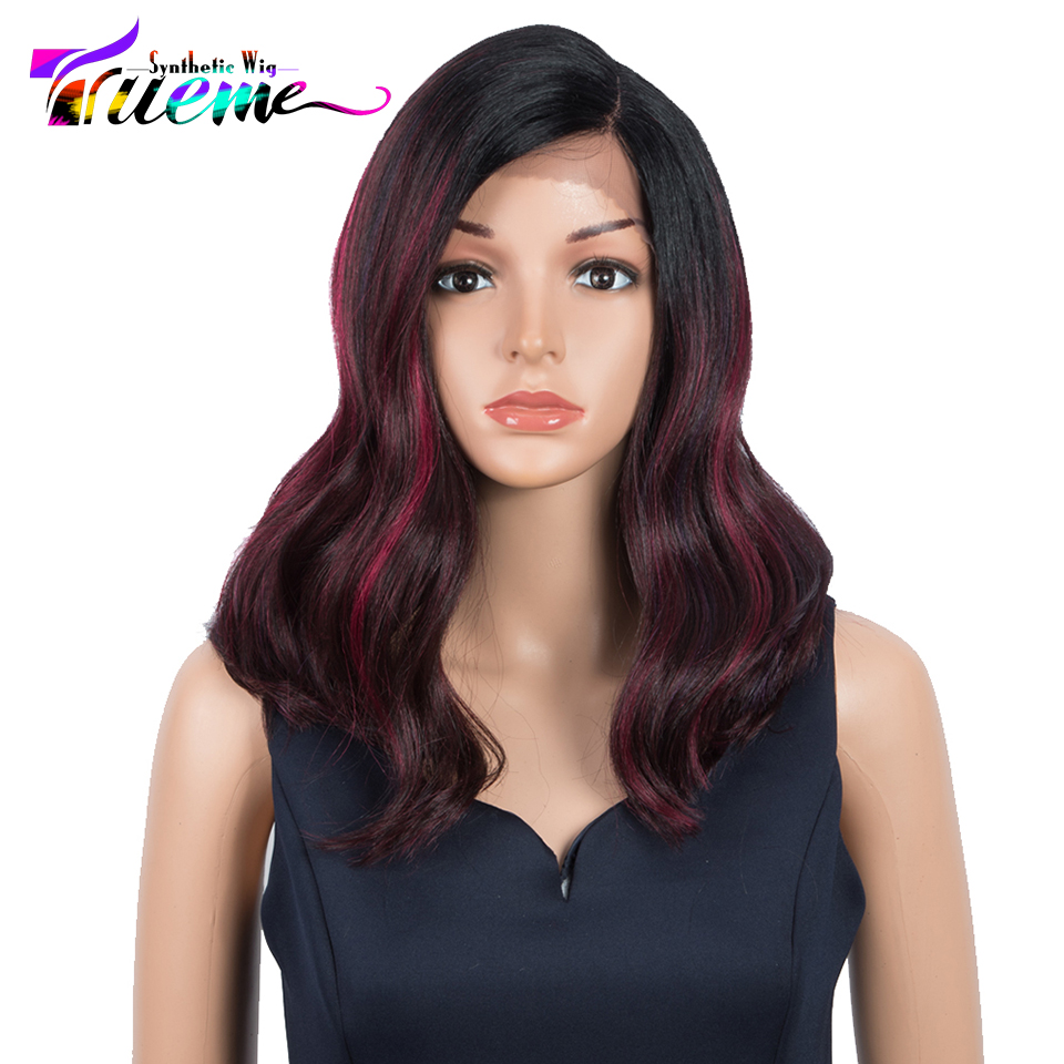 Trueme Fashion Synthetic Wigs For Black Women Ombre Red Blonde Cosplay Wigs Heat Resistant Synthetic Side Part Front Lace Wig