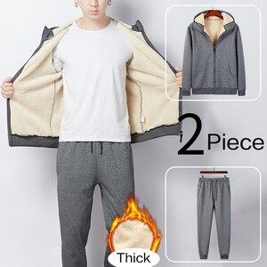 Image 3 - 2019 Winter Thick Faux Shearling Warm Tracksuit Men Hooded Sweatsuit 2 Piece Jacket+Pants Men Set Sportwear Track Suit 4XL 5XL