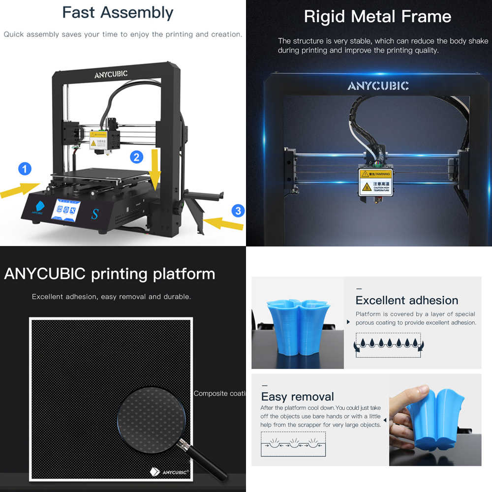 Impresora 3D Mega-S, marco de Metal, nuevo extrusor, pantalla táctil, estampado de filamento TPU PLA, I3 Anycubic Mega S, Kit DIY con Heatbed