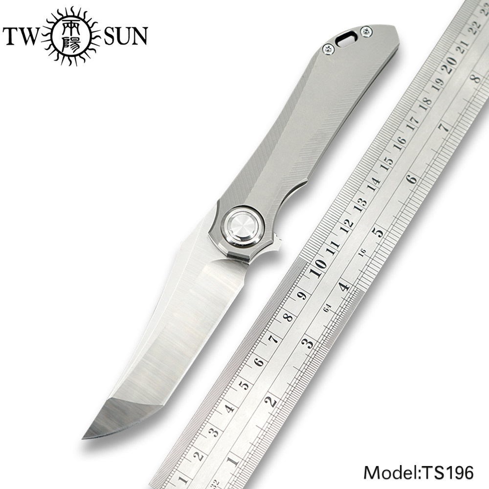 TWOSUN Knives M390 Blade Folding Pocket Knife Tactical Knife Outdoor Hunting Knife Survival Tool EDC Titanium Fast Open TS196