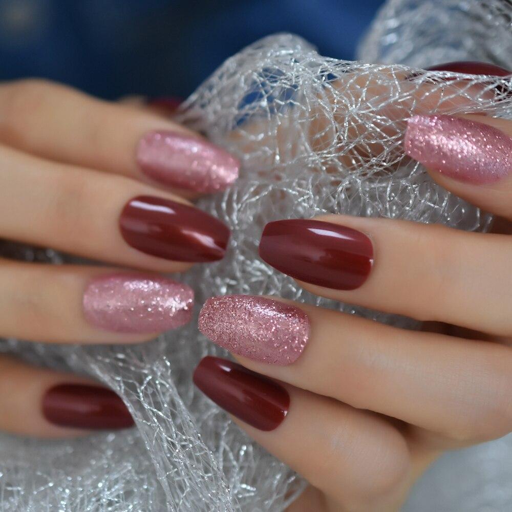 Rose Gold Pink Coffin Glitter False Nails Medium Size Shimmer Shiny Press On Finfernails 48pcs/kit